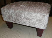 footstool/ pouffee in a mink chenille fabric....also available in different fabrics...just ask and we can make it for you