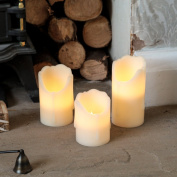 3 Pack Battery Operated Flickering Warm White LED Wax Pillar Candles with Timer by Festive Lights
