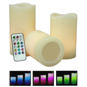 Colour Changing LED Vanilla Scented Flameless Wax Mood Candles with Remote Control Pack of 3