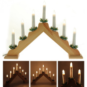Pre-Lit Wooden Triangle Candle Bridge Window Table Christmas Decoration with 7 Candles - Size 41cm