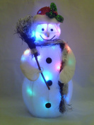 50cm Light Up Snowman With Broom Christmas Decoration With Colour Changing LED Lights - Battery Operated