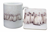 Snowshoe Kittens Mug and Table Coaster, Ref:AC-111MC