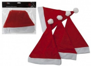 Pack of Four Red Santa Hats - Adult - Christmas/Fancy Dress