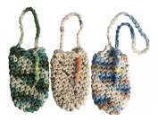3 pouches - handmade 100% Cotton Crochet Soap Saver Pouch with Hanger - with handmade bead work by Ladybug Soap Company