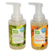 Cleanwell Natural Organic Antibacterial Foaming Orange Vanilla and Spearmint Lime Hand Soap Pump Bundle With Thyme for Killing Germs and Aloe Vera for Moisturising Hands and Skin, 280ml each