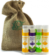 Natural and Organic Beeswax Lip Balm Multi-pack By Mother's Vault - Personal Care Lip Moisturiser for Both Men & Women