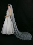 2T 2 Tier Scallop Edge Motifs Bridal Wedding Veil - White Cathedral Length 270cm V167