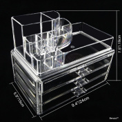 BerucciTM Clear Acrylic Jewellery Makeup Cosmetic Organiser Holder Storage - Two Piece Set with Three Bottom Drawers and Round Top Design