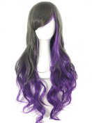 TopWigy Women's Long Curly Wavy Hair for Cosplay Wig (Black & Purple)+Wig Cap
