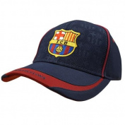 Barcelona Fc Baseball Cap Hat Navy Blue With Burgindy Peak