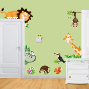 Fange in the Jungle Wildlife Animal Stickers Wall Decals Children Bedroom Decor 120cm x 80cm