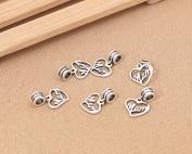 Luoyi 1pc 14mm*16mm Thai Sterling Silver Large Hole Charm Bead European Bead Column Bead Heart Dangle Bead Spacer Bead