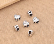 Luoyi 1pc 10mm*11mm Thai Sterling Silver Large Hole Charm Bead European Bead Heart Shape Bead Spacer Bead