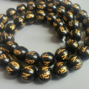 Bolin - 14mm Om Mani Padme Hum Natural Black Agate Beads Tibetan Gold Plating Delicately Carved Mantra 15 inch Strand Onyx Beads for Jewellery Making