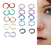 Blovess 10 Pairs Non - Piercing Fake Spring Septum Nose Lips Ear Ring Hoop Clip On