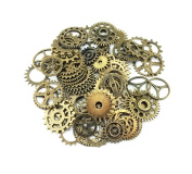 Yueton® 100 Gramme Assorted Antique Steampunk Gears Charms Pendant Clock Watch Wheel Gear for Crafting, Jewellery Making Accessory