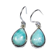 Sitara Collections SC10419 Larimar Cabochon Sterling Silver Earrings