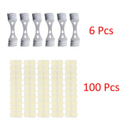 Bundle of candle wick sticker (100pcs) and Metal Candle Wick Centering Device 6pcs - Kare & Kind® retail packaging