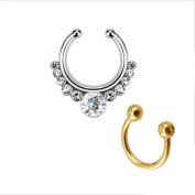 Fake Septum Clicker Helios with Gems Non Piercing Hanger Clip Nose Ring - Gocomcom