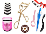 Eyelash Curler Professional Gold By Shushu Stainless Steel Premium High Quality With FREE Huge Bonus Gift Set ,Include Free 5pcs Silicone Refill Pads , 4pcs of Eyebrow Card, Plastic Curler And more...