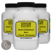 Sodium Sulphate [Na2SO4] 99+% ACS Grade Powder 1.4kg in Three Space-Saver Bottles USA