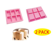 HOSL 2 Pack 6-cavity Plain Basic Rectangle Silicone Mould for Homemade Craft Soap Mould, cake mould, Ice cube tray