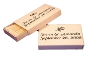 50 Personalised White Cover Wooden Match Boxes Matches