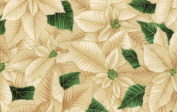 Hoffman 'Berries and Blooms' Packed Ivory Poinsettias on Christmas Cotton Fabric 110cm - 110cm Wide