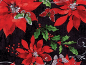 Hoffman 'Festive Flora' by Punch Studio Poinsettias on Black Christmas Cotton Fabric 110cm - 110cm Wide