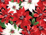 Hoffman 'Festive Flora' by Punch Studio Red and White Poinsettias on Black Christmas Cotton Fabric 110cm - 110cm Wide