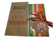 """Printed Lunch Party Gift Sacks """"Enjoy the Little Things"""" Christmas Wrap Kit; 3 Items - 6 Rustic Old Fashion Christmas Lunch Party Sack, Tissue, 6 Rustic Gift Tags"""
