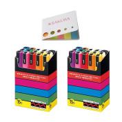 Uni-posca Paint Marker Pen, BUNDLE SET! Set of 15 (PC-5M 15C) Medium Point X 2 pack + Original 5 Colours Sticky Notes
