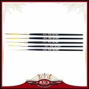 Set of 5 Size 0-6 Series 444 The Virus Scrolling Script Pinstriping Brush With Specially Blended Golden Taklon