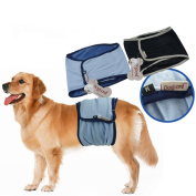 Male Dog Puppy Belly Band Toilet Training Nappy Sanitary Wrap Nappy Underwear, Blue, XL Wide