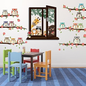 Walplus Removable Wall Stickers Window View Of Animal Friends + Nursery Owl Numbering - Nursery Kid's Room, 200Cm X 105Cm, Multi - Colour