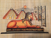 Hand Painted Natural Papyrus Painting Shows the Great Pyramids of Giza and the Sphinx. 22cm x 30cm
