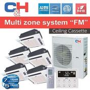C & H+Multi Penta-Zone System 42,000 BTU Inverter Heat Pump Choice of Cassette,Slim Duct and Console
