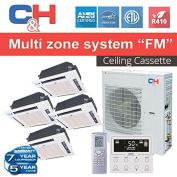 C & H +Multi Quad-Zones Ceiling Cassette, Slim Duct OR Console System 36,000 BTU Inverter Heat Pump