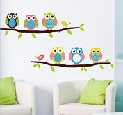 Lovely Owls Leaves Branchs Wall Decal Home Sticker Paper Removable Living Room Bedroom Art Picture DIY Mural Girls Boys Kids Nursery Baby Playroom Decoration + Gift Colourful Butterflies