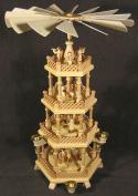 Dregano 4 Level Natural Wood Nativity Christmas Pyramid