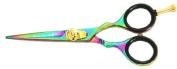Moustache Scissors and Beard Trimming Scissors, Extremely Sharp - Titanium - 13cm