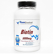 Biotin 5000mcg // 200 Capsules // Pure // by PureControl Supplements