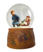 MusicBox Kingdom Snow Globe with a Rotating Scene in Which a Boy with a Girl Pulls The Sled Plays a Christmas Carol Decorative Item