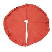 Burlap Tree Skirt Round Ruffled Edge, Red, 120cm