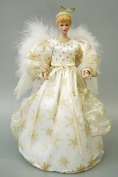 Christmas Angel Tree Topper Decor Collection Snowflake Bowknot White Dress Wings