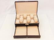Brown 12 Slot Pillow Leather Watch Jewellery Cufflinks Bracelet Box Storage Organiser