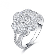 S925 Silver AAA CZ Stones 1.9ct Flower Ring Rhodium Plated