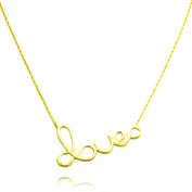 TIONEER 18K Yellow Gold Plated Sterling Silver Love Ending in Infinity Charm Necklace, 41cm