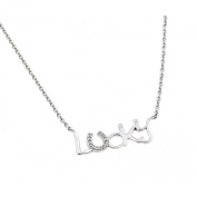 Sterling Silver Rhodium Plated Necklace w/ CZ Stones LUCKY Pendant
