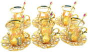Set of 6 Turkish Style Tea Glasses with Brass Holder Saucer and Spoons Set Silver Plated 24 Pieces - Decorated Gold